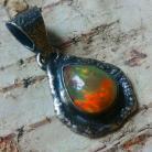 Wisiory opal,srebrny,baśniowy,retro,teczowy,srebro,fiolet