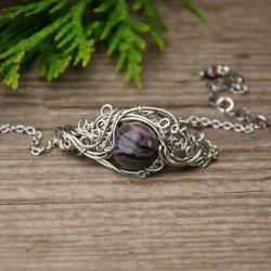 agat z kryształem,bransoletka,wire wrapping,agat - Bransoletki - Biżuteria