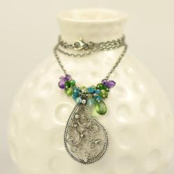naszyjnik,wisior,filigran,romantyczny,zielony - Naszyjniki - Biżuteria