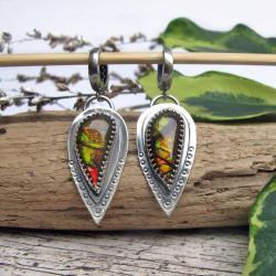 ammolit,srebro,kolczyki,unikat - Kolczyki - Biżuteria