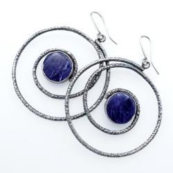 srebrne spirae kolczyki z czaroitem - Kolczyki - Biżuteria