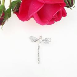 wisiorek,srebrny,ważka,prezent,dla niej, - Wisiory - Biżuteria