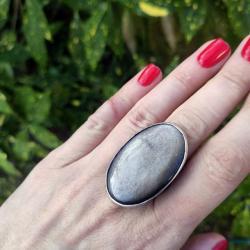 obsydian,srebrny,pierścionek,masywny,21 - Pierścionki - Biżuteria