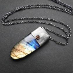 srebro,llabradoryt,surowy,szafir,długi - Wisiory - Biżuteria