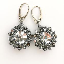 Kolczyki Grafitowe Lśnienie kryształy Srebro - Kolczyki - Biżuteria