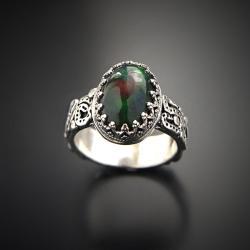 srebrny,pierścionek,z czarnym opalem ognistym - Pierścionki - Biżuteria