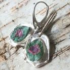 Kolczyki zoisyt,srebro,srebrne,różowy,zieleń,rubin