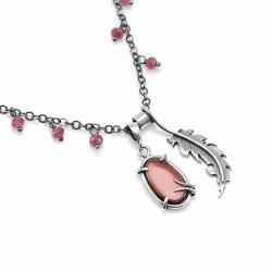 piórko,prezent,delikatny,czerwony - Naszyjniki - Biżuteria