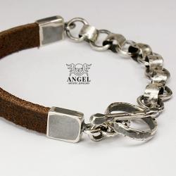 bransoleta z surowego srebra,surowa biżuteria - Dla mężczyzn - Biżuteria