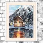 Obrazy akwarela,ganek,domek,bajkowy,las,zimowa