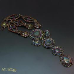 ekskluzywny,bogaty,haft koralikowy - Naszyjniki - Biżuteria