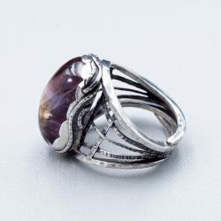 Srebrny regulowany pierścionek z ametrynem - Pierścionki - Biżuteria